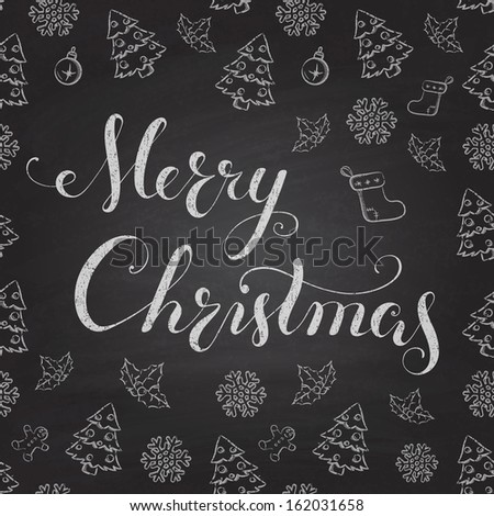 Christmas Chalkboard pattern. Calligraphy lettering Merry Christmas - stock vector