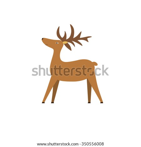 Christmas Character Deer of Santa Claus. Reindeer with horns standing in profile. - stock vector