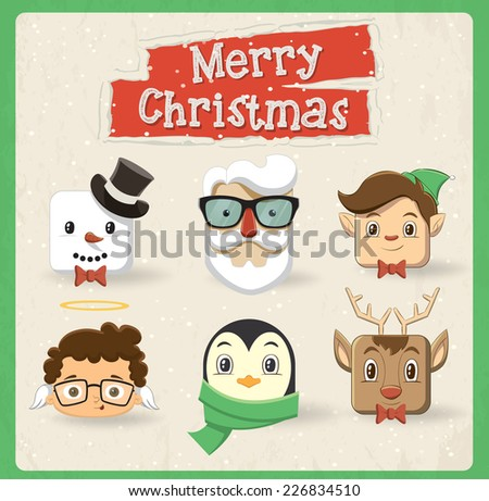 Christmas character head design. Vector illustration - stock vector