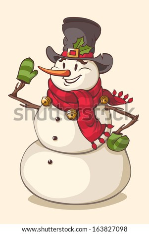 Christmas character snowman. Vector illustration. - stock vector