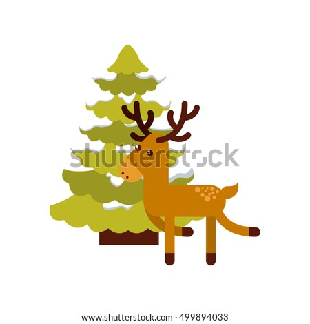 christmas character with tree icon vector illustration design