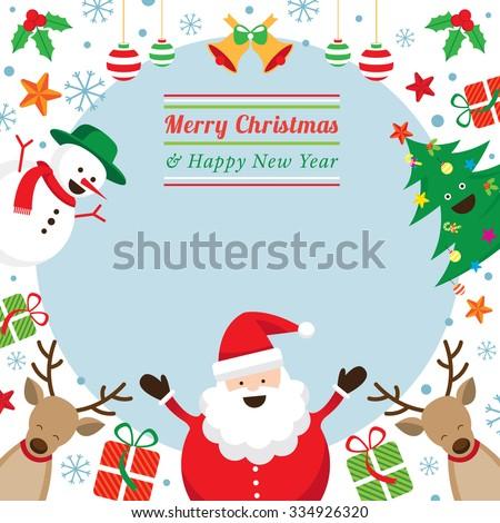 Christmas Characters Frame, Santa Claus, Snowman, Tree, Reindeer - stock vector
