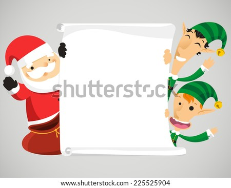 Christmas characters holding banner vector cartoon illustration - stock vector