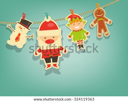 Christmas Characters on Blue Background. Santa Claus, Snowman and Christmas Elf. Vector Illustration.