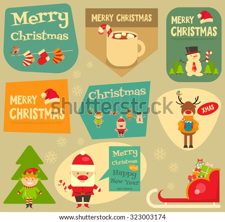 Christmas characters on Stickers. Santa Claus, Snowman and Deer. Vector Illustration. - stock vector