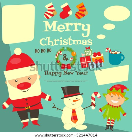 Christmas Characters Postcard with Place for Text. Santa Claus, Snowman and Christmas Elf. Vector Illustration. - stock vector