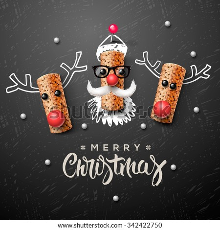 Christmas characters, Santa Claus and reindeer, made from wine cork, art and craft Christmas decoration, vector illustration. - stock vector