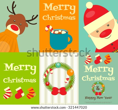 Christmas characters - Santa Claus and Reindeer. Set of Cute Christmas Posters. Vector Illustration. - stock vector