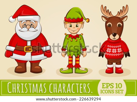 Christmas characters: Santa Claus, elf and reindeer. Collection of colored icons for holiday design. Vector set.