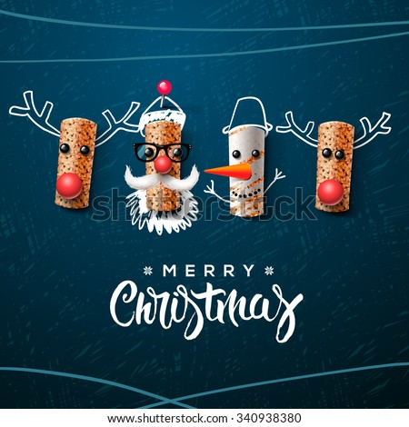 Christmas characters, Santa Claus snowman and reindeer, made from wine cork, art and craft Christmas decoration, vector illustration. - stock vector