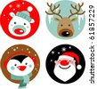Christmas characters - Santa, reindeer, penguin and polar bear - stock photo