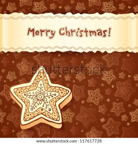 Christmas chocolate cake greetings card with ribbon - stock vector