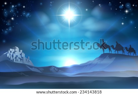 Christmas Christian Nativity scene of the Star and three Wise Men and Bethlehem in the background - stock vector