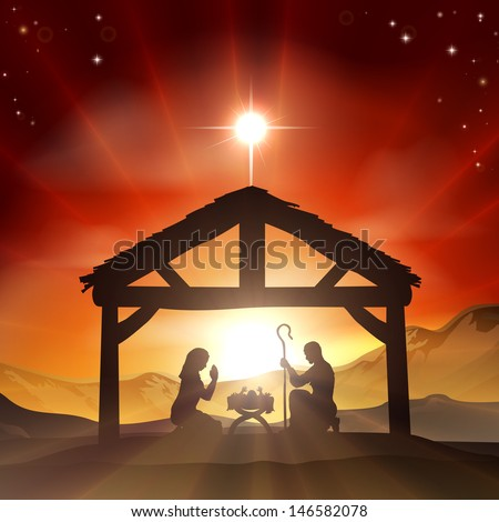 Christmas Christian nativity scene with baby Jesus in the manger in silhouette, and star of Bethlehem - stock vector