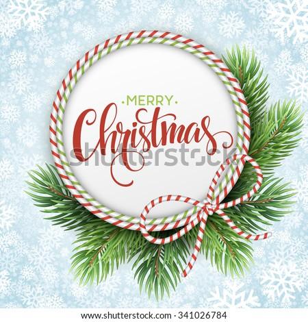 Christmas circle frame of fir branches. Vector illustration EPS10 - stock vector