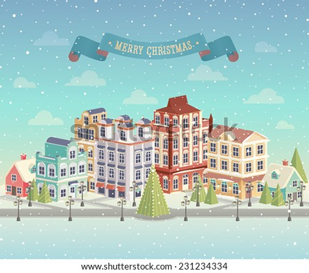 Christmas cityscape and snowfall. Vector illustration. - stock vector