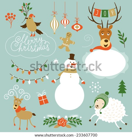 Christmas Clip Art. Letering, graphic characters, symbols  - stock vector