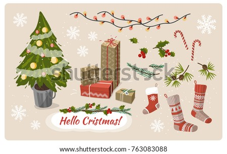 Christmas clipart, traditional  christmas symbols and elements.
