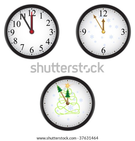 Christmas clock - stock vector