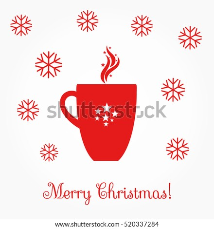 Christmas coffee red mug illustration