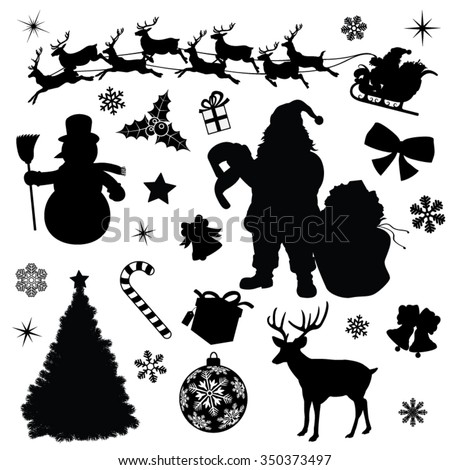 Christmas Collection Black Vector Illustration Silhouettes