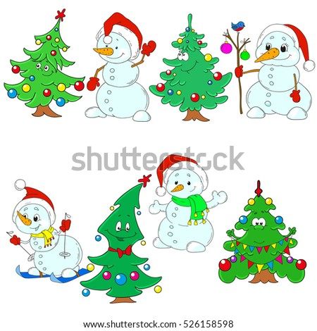 Christmas Collection. Funny snowmen and Christmas trees. New Year's characters