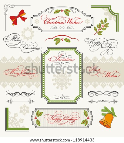 christmas collection of design elements set of calligraphic texts merry christmas happy new