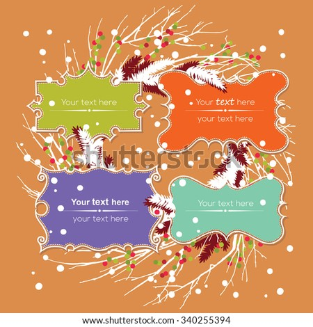 Christmas collection of Design Elements: set of labels. Hand drawing background, x-mas, new years decoration. - stock vector