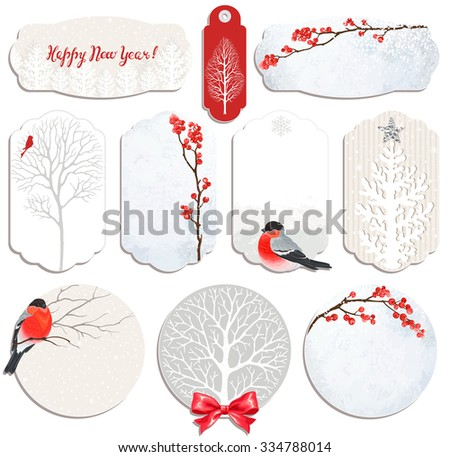 Christmas Collection of labels and cards with winter red berries, trees and bullfinches. - stock vector