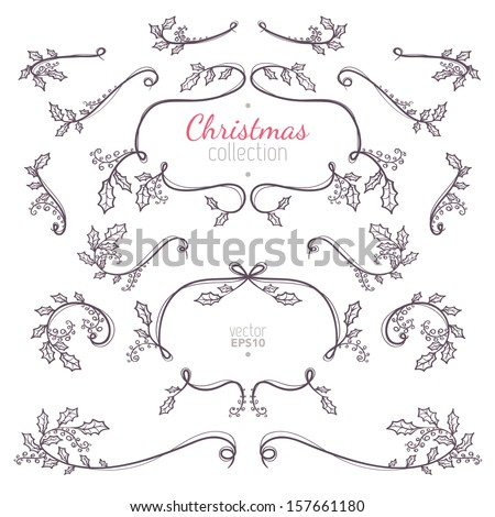 Christmas collection of nature elements with branches and leaves for your holiday decoration - stock vector