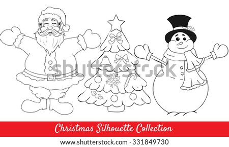 christmas collection of vector isolated happy santa, snowman and christmas tree - stock vector