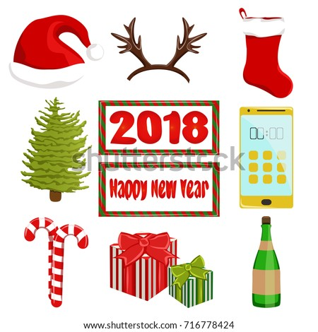 Christmas collection of vector objects. Santa's hat, deer antlers, sock, Christmas tree, gifts, a bottle of wine or champagne, a golden smartphone and candy. Isolated on white background.