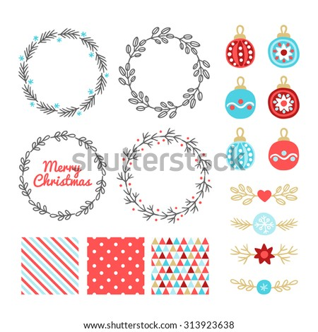 Christmas collection with design elements - balls, wreaths, seamless patterns and headers. Perfect for Christmas greeting cards, winter invitations, wallpaper, gift paper, pattern fills. - stock vector