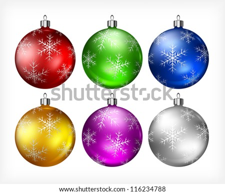 Christmas color baubles isolated on white background, vector illustration - stock vector
