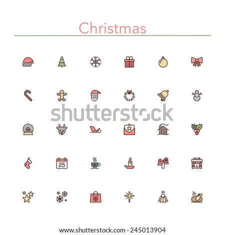 Christmas colored line icons set. Vector illustration.