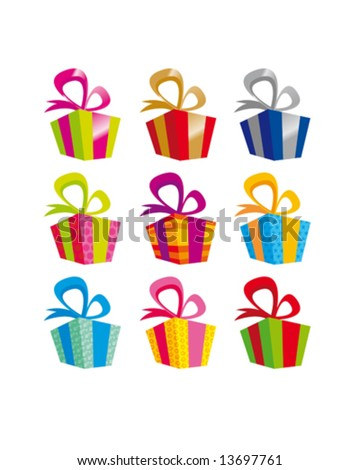 christmas colorful presents - stock vector