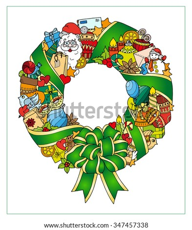Christmas colorful wreath. Doodle pattern with balloons, bells, sweets, Christmas socks, gifts, mittens, envelope, letter, tree, stars, candle, bird, snowman, ball, bow, heart and Santa Claus. - stock vector