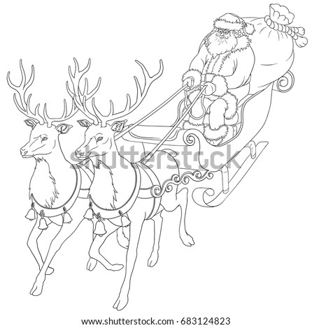 christmas coloring book with santa claus bag with gifts and deers isolated on white