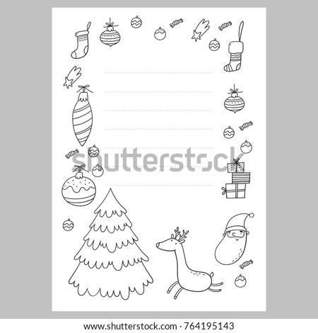 Christmas Coloring Page. Christmas Wish List With Santa. A Letter To Santa  Template.  Christmas List To Santa Template