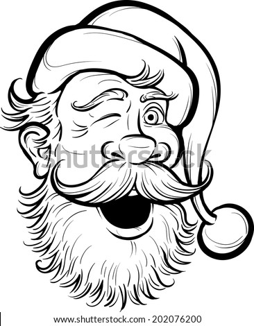 Christmas coloring page with Santa Claus - stock vector
