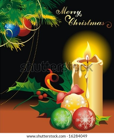 Christmas composition candle and balls - stock vector