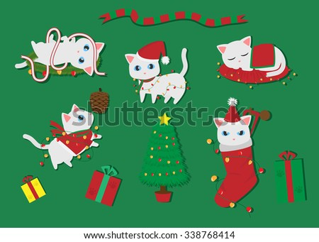 christmas concept of cute white cat cartoon vector