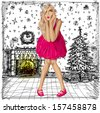 Christmas concept.Vector surprised blonde in pink dress do not know what to buy. All layers well organized and easy to edit - stock photo