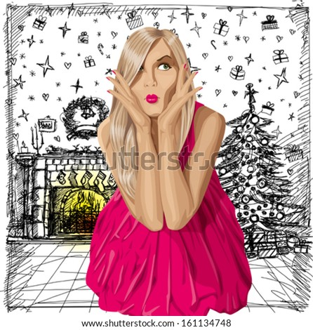Christmas concept.Vector surprised blonde in pink dress do not know what to buy. All layers well organized and easy to edit - stock vector