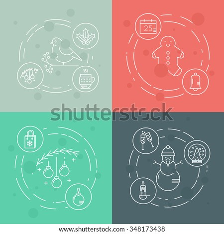 Christmas concept with different Christmas items made in modern style linear vector.�Clean and easy to edit. Perfect illustration for banner or flyer.  - stock vector
