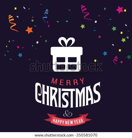 Christmas Confetti Background. Merry Christmas and Happy Winter background celebration typography with presents and gift box. Vector illustration.