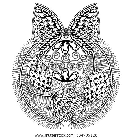 Christmas coniferous wreath with decorative balls, bow and cones for adult anti stress Coloring pages, zentangle patterned illustration , New Year posters, vector sketch isolated on white background. - stock vector