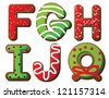 Christmas Cookie Alphabet F through J Vector EPS 8, isolated on white, no open shapes or paths. - stock vector