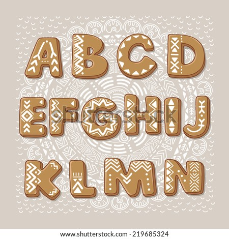 Christmas cookie alphabet. Vector font