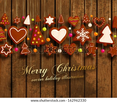 Christmas Cookies Set - Gingerbread man, Xmas Tree, Star, Heart. All for Xmas Cards Design. Wood Texture Background. - stock vector